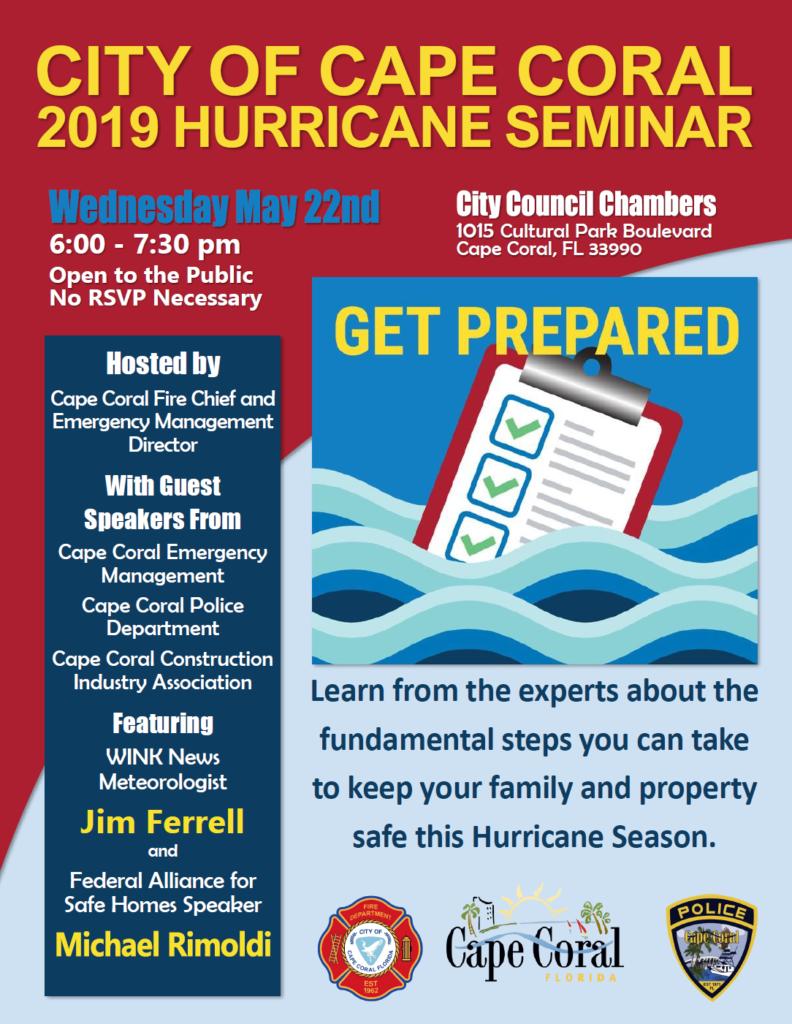 2019 Hurricane Seminar Tonight City Hall