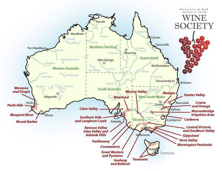 australia wine map