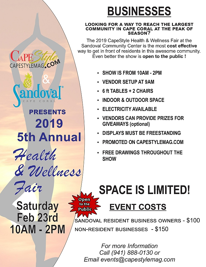 Information & Payment   Page for the 2019 Sandoval Health & Wellness Event