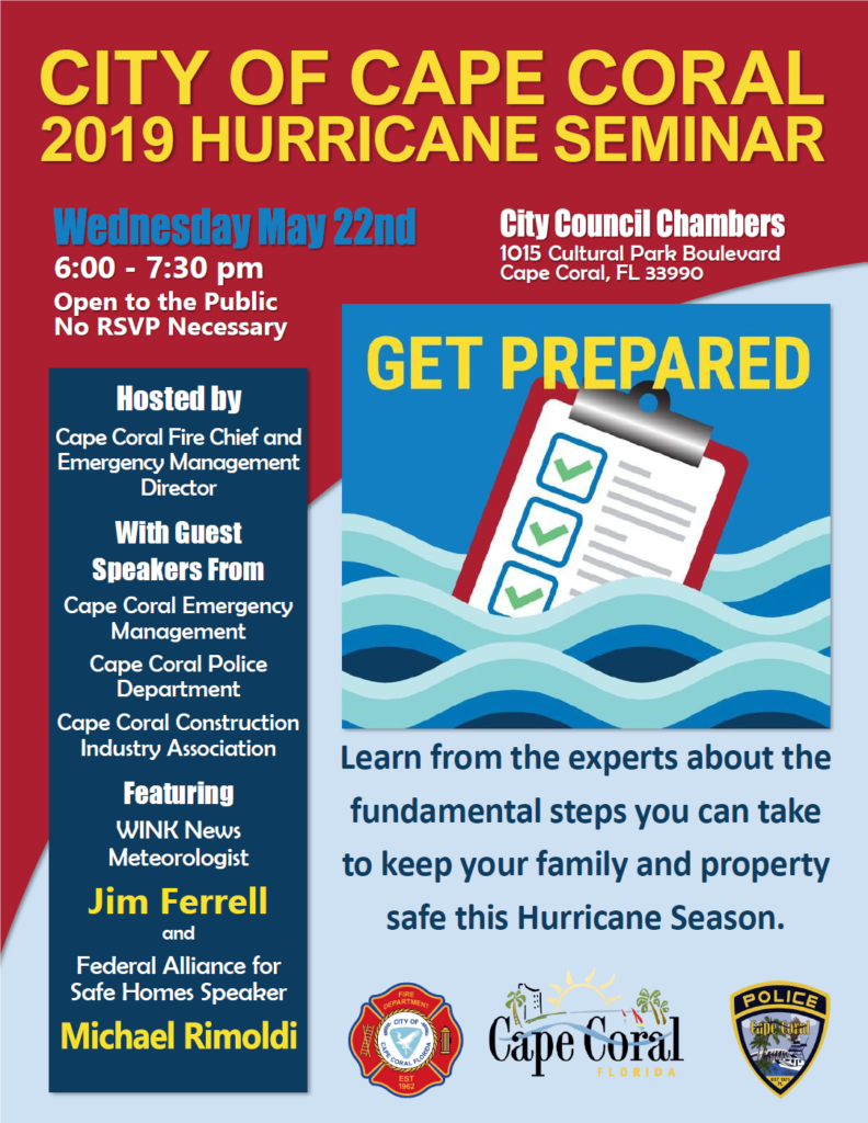 2019 Hurricane Seminar Tonight City Hall