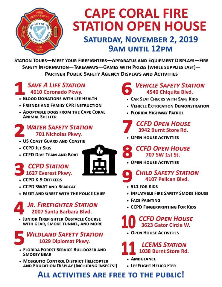 Cape Coral Fire Department Open House This Saturday