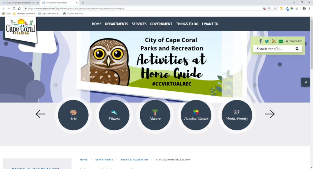 """Cape Coral Parks and Recreation Launches """"Virtual/Home Recreation"""" Web Pages"""