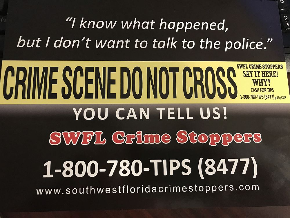 Crime Stoppers postcards to encourage new tips